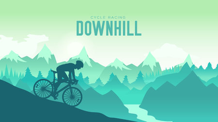 Silhouette yang man riding a mountain bike at sunset design. Cyclist Riding the Bike Down Rocky  イラスト・ベクター素材
