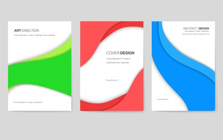Abstract vector brochure cards set. Art template of flyear, magazines, posters, book cover, banners. Colorful design invitation concept background. Layout ornament illustrations modern Ilustração