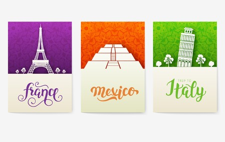 set of art ornamental travel and architecture on ethnic floral flyers. Vector decorative banner of card or invitation design. Historical monuments of USA, China, Egypt, France, Mexico, Italy