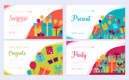 Gift information brochure card set. Box infographic template of flyear, web banner, ui header, enter site. Layout invintation modern slider