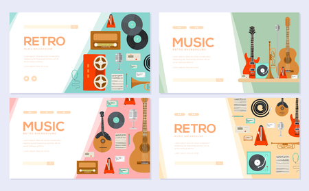 Retro equipment music set. Traditional melody brochure card set. festival template of flyear, web banner, ui header, enter site. Layout invintation modern