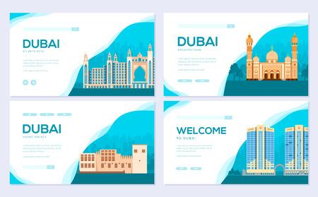 Dubai vector brochure cards set. Travel template of flyear, web banner, ui header, enter site. Invitation concept background. Layout illustration modern slider