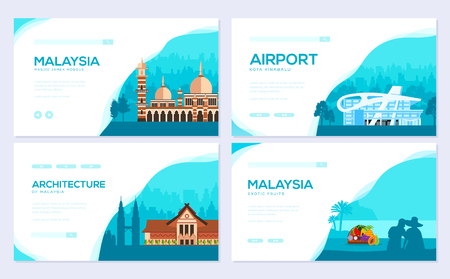 Country Malaysia travel vacation of place and feature. Traditional architecture brochure card set. Monument  template of flyear, web banner, ui header, enter site. Layout invintation modern slider