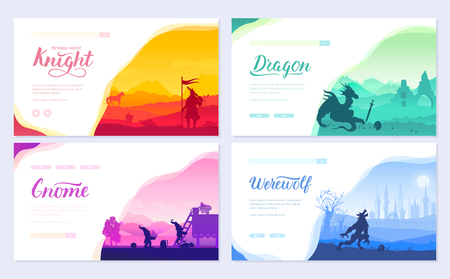 Set of diverse fantasy worlds. Fantasy creatures from old myths and fairy tales. Template of flyear, web banner, ui header, enter site. Invitation concept background. Layout modern slider page