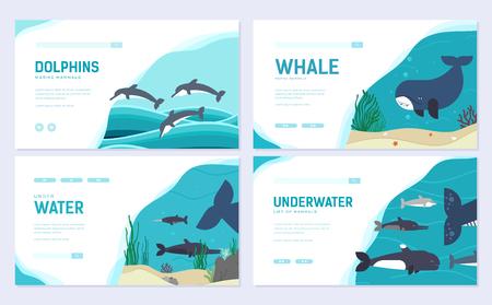 Set of Sea mammals. Art animal brochure card set. fish in ocean life template of flyear, web banner, ui header, enter site. Layout invintation modern slider