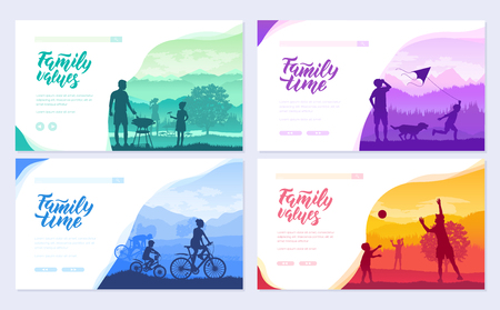 family vacation with children in nature brochure cards set. Friendly resorts template of flyear, web banner, ui header, enter site. Invitation concept background. Layout modern slider page Vetores