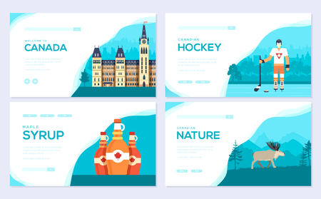 Set of Canada country brochure cards set.  Traditional template of  invitation template of flyear, web banner, ui header, enter site. Layout modern Standard-Bild - 117918823