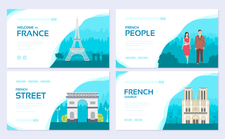 France country ornament travel tour concept. Traditional monument brochure card set. ethnic template of flyear, web banner, ui header, enter site. Layout invintation modern slider