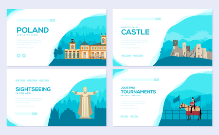 Country Poland travel vacation guide concept. Traditional tour brochure card set. Template of flyear, web banner, ui header, enter site. Layout invintation modern slider