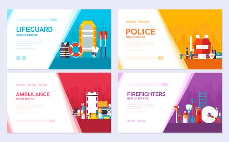 Firefighter, rafting, police, medicine rescue. Emergency services brochure card set. template of flyear, web banner, ui header, enter site. Layout invintation modern slider Banco de Imagens - 117918828