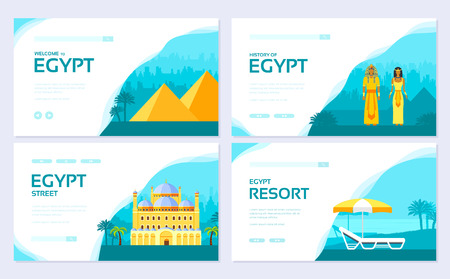 Egypt country ornament travel tour concept. Traditional vacation brochure card set. Template of flyear, web banner, ui header, enter site. Layout invintation modern slider