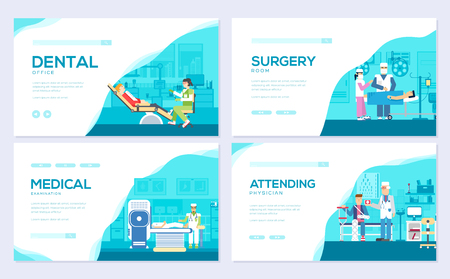 Medical examination doctor. Traditional medicine with weapon brochure card set. clinic visit to the doctor template of flyear, web banner, ui header, enter site. Layout invintation modern slider