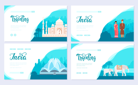India country ornament travel tour concept. Traditional culture brochure card set. Ethnic template of flyear, web banner, ui header, enter site. Layout invintation modern slider