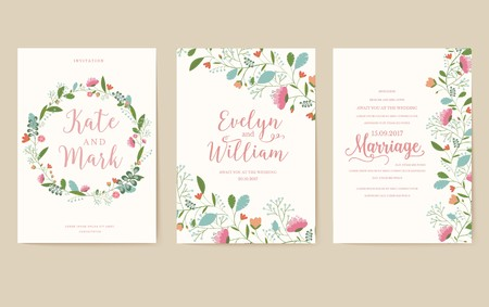 Flower theme for the design of gift flyers. The best cards for a wedding or birthday. Template for decorating of an invitation to flower shop. Vettoriali