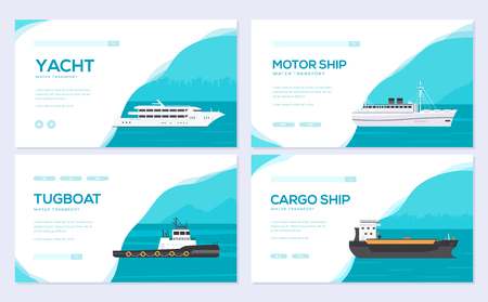 Set of yacht, boat, cargo ship, steamship, ferry, fishing boat, tug, bulk carrier, vessel, pleasure boat, cruise ship. Vector brochure card template of flyear, web banner, ui header, enter site slider