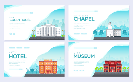 Building city information cards set. Architecture template of flyear, magazines, poster, book cover, banners. Construction infographic background. Layout illustrations modern pages with typography