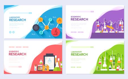 Science information brochure card set. laboratory chemistry template of flyear, web banner, ui header, enter site. Layout invintation modern slider Illustration