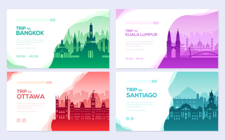 Travel information brochure card set. Landscape ñountry Thailand, Malaysia, Canada, Chile of template of flyear, web banner, ui header, enter site. Layout invintation modern slider Illustration
