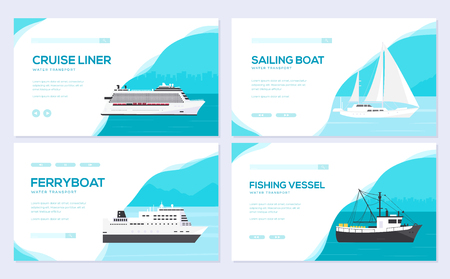 Set of yacht, boat, cargo ship, steamship, ferry, fishing boat, tug, bulk carrier, vessel, pleasure boat, cruise ship. Vector brochure card template of flyear, web banner, ui header, enter site