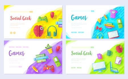 It geeks brochure card set. Office professional developer  template of flyear, web banner, ui header, enter site. Workplace technology layout invintation modern slider