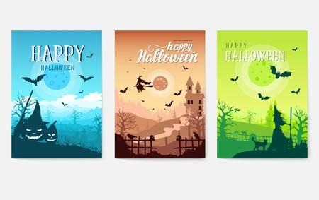 Frontera de concepto de fondo de tiempo de Halloween para el diseño. Plantilla de paisaje de flayer, revistas, carteles, portada de libros, pancartas. Ilustración de diseño vectorial Ilustración de vector