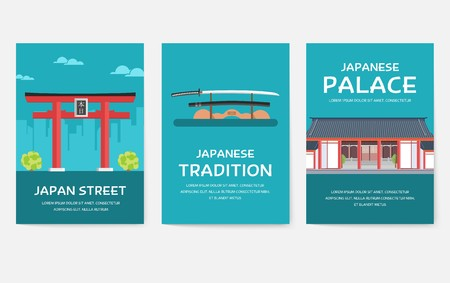 Set of Japan country ornament travel tour concept. Asia traditional, magazine, book, poster, abstract, element. Vector decorative ethnic greeting card or invitation design background Stock Illustratie