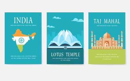 Set of India country ornament travel tour concept. Culture traditional, magazine, book, poster, abstract, element. Vector decorative ethnic greeting card or invitation design background Illustration