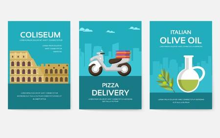 Satz von Italien-Land-Ornament-Reise-Tour-Konzept. Asien traditionell, Zeitschrift, Buch, Poster, abstrakt, Element. Vektor dekorative ethnische Grußkarte oder Einladungsdesign