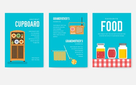 Grannys day brochure cards set. old character people template of flyear, magazine, poster, book cover, banners. grandmother and grandfather house invitation concept background. Layout modern page Ilustração