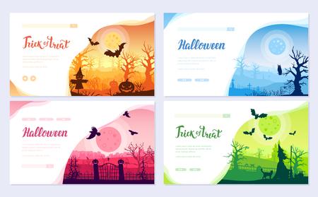 Halloween time brochure card set. Landscape template of flyear, web banner, ui header, enter site. Layout invintation modern slider Illustration