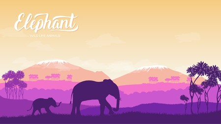 Elephant with children is in the environment illustration. Wild animal against the background of nature africa concept. Wild animal in the savannah.
