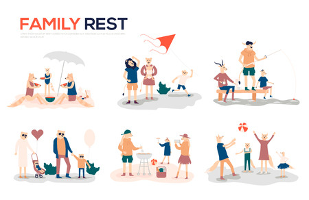 Cartoon mother, father and children sunbathing, walking, swimming, fly a kite, fishing, preparing barbecue together. Collection of family outdoor recreational activities vector