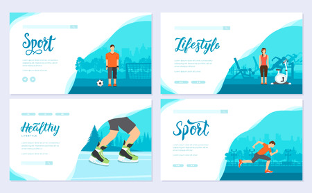 Sport information brochure card set. Extreme on nature template of flyear, web banner, ui header, enter site. Layout modern