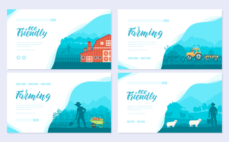 Farming life brochure card set. Take care of the garden template of flyear, web banner, ui header, enter site. cultivation of land layout invintation modern Ilustração