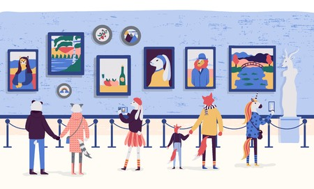 People enjoying artworks in flat cartoon style. Visitors of classic art gallery vector illustration. Museum viewing exhibits colorful concept. Tourists looking at paintings at exhibition. Stock Illustratie