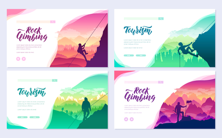 climber climbs the mountain brochure cards set. Extreme lifestyle of rock climbers template of flyear, web banner, ui header, enter site. Tourist hiking layout modern slider page Иллюстрация