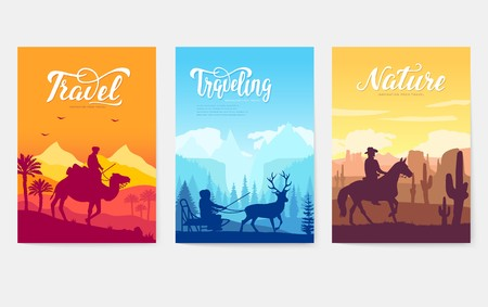 Different riders of the world vector brochure cards set. Colorful landscape template of flyer, magazines, poster, book cover, banners. invitation concept background. Layout illustration modern page