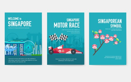Country Singapore travel vacation guide of goods, places and features. Set of architecture, items, nature background concept. Infographic template design for web and mobile on flat style