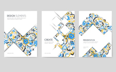 Abstract vector brochure cards set. Print art template of flyear, magazines, posters, book cover, banners. Colorful design invitation concept background. Layout ornament illustrations modern page Vettoriali