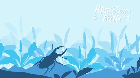 Käfer-Nashorn klettert auf einen Stein im Grashintergrund. Leben von Insekten in der wilden Illustration. Beauty-Acro-Welt-Design