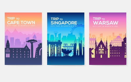 Travel information cards. Landscape template of flyear, magazines, posters, book cover, banners. Country of Chile, Canada, Thailand, Spain, Malaysia, Africa, Asia, Poland, UAE and Jerusalem set Çizim