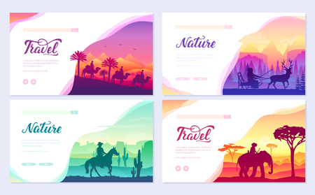 Different riders of the world vector brochure cards set. Colorful landscape template of flyear, web banner, ui header, enter site. Invitation concept background. Layout illustration modern slider