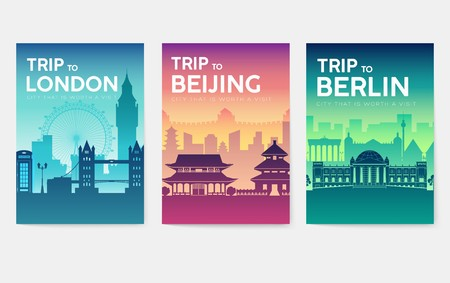 Travel information cards. Landscape template of flyear, magazines, posters, book cover, banners. Country of UK, China, Germany set