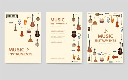Music instruments  vector brochure cards set.  Audio tools template of flyear, magazines, poster, book cover, banners. Concert invitation concept background. Layout illustration modern page background Banque d'images - 117918998