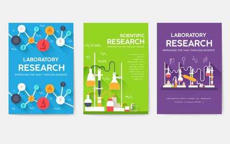 Ready flyers for scientific laboratories. Medical brochures for printing. Invitations for medicine in trendy style. The best postcard for the hospital. Chemistry infographic concept background.