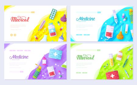Medicine information. Medical brochure card set. Clinical template of flyear, web banner, ui header, enter site. Layout invintation modern slider  イラスト・ベクター素材