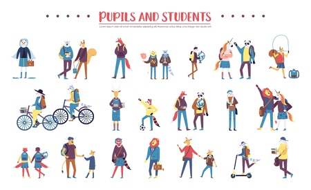 Set of colorful animals being pupils and students on white background Stock Illustratie