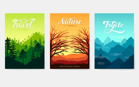 Nature vector brochure cards set. Ecology template of flyer, magazines, poster, book cover, banners. Outdoor invitation concept background. Layout illustration modern page background. Çizim