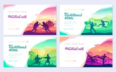 Ensemble de cartes de brochure de représentants de combattants traditionnels du monde entier. Modèle de nature de combat de style de combat de flyear, bannière Web, en-tête d'interface utilisateur, entrez dans le site. Page de curseur moderne de mise en page
