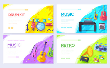 Music instruments brochure card set. Audio tools template of flyear, web banner, ui header, enter site. Concert layout invintation modern slider